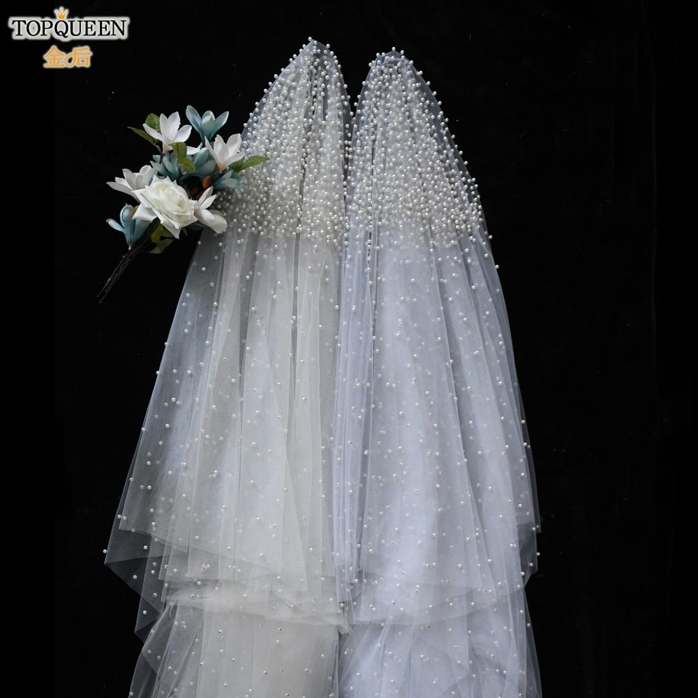 TOPQUEEN V08-L 3 M Long Wedding Veils one Tier Pearl Veils for Brides Cathedral Legth White Veil for Women Ivory Blusher Veil