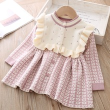 Sweet Winter Autumn Girls Princess Kids Children Baby Infants Knitting Dress Ruffles Long Sleeve Knit Knitwear Dresses S9483