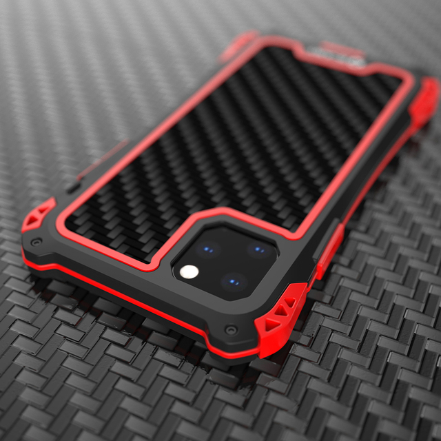 עמירה עמיד למים עמיד הלם טלפון מקרה עבור Iphone 11 11 פרו Iphone 11 פרו מקס סיבי פחמן כיסוי היברידי עומס כבד מוקשח שריון