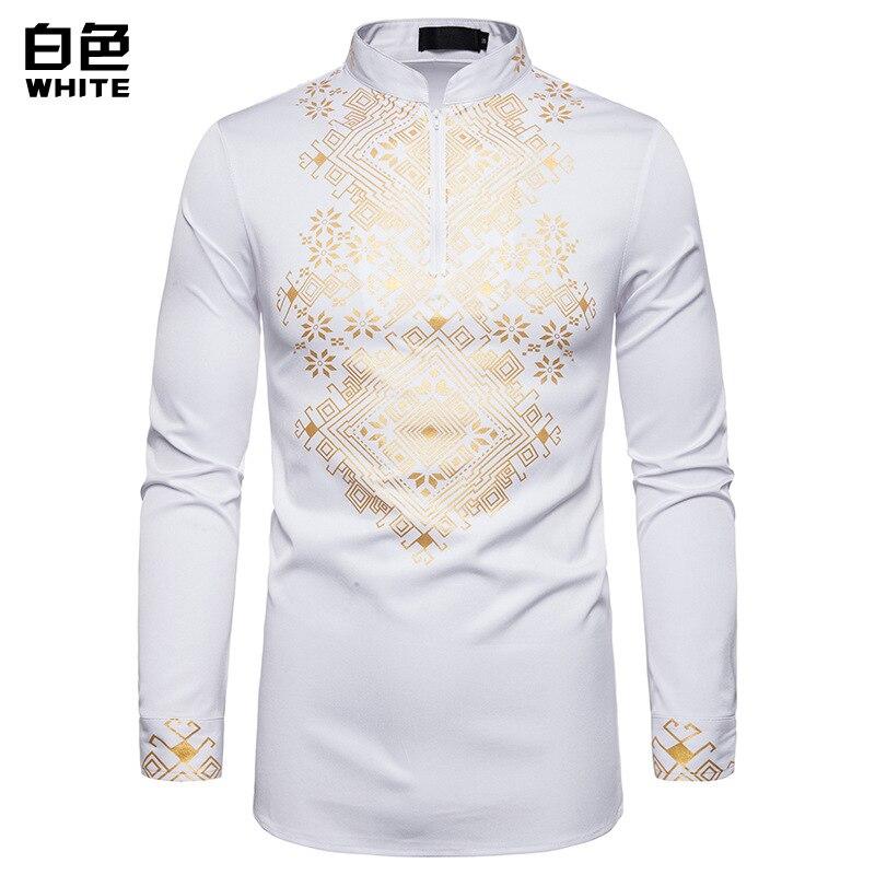 3 Colors Men's Casual Fashion Print Shirt Men Totem Print Full Sleeve Shirt African Wind Shirt