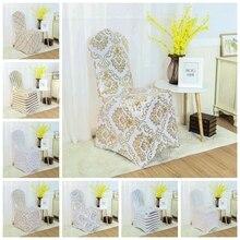 Funda de LICRA para silla con estampado de 8 colores cubierta para silla elástica de LICRA para decoración de boda, banquete de Hotel, venta al por mayor, compatible con todas las sillas