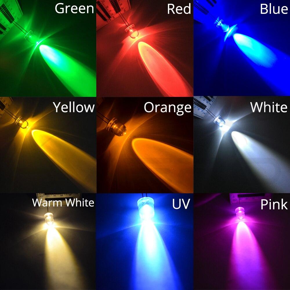 100 LED ronde 5mm bleu blanc jaune vert rose UV rouge blanc chaud orange