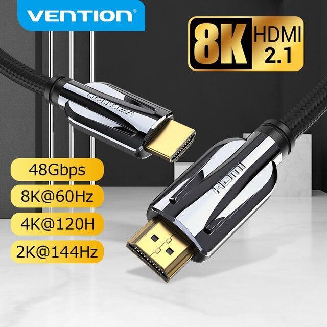 Bộ Chia Vention HDMI 2.1 Cáp 8K 60Hz 4K 120Hz 48Gbps Kỹ Thuật Số HDMI Dây Xiaomi Mi hộp PS5 PS4 Bộ Chia HDMI Bộ Mở Rộng 8K Cáp HDMI