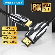 Vention HDMI 2.1 케이블 8K 60Hz 4K 120Hz 48Gbps 디지털 HDMI 코드 Xiaomi Mi Box PS5 PS4 분배기 HDTV Extender 8K HDMI 케이블