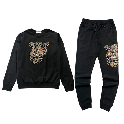 Livraison gratuite hommes ensemble léopard strass perles mode bling sweatshirts/t-shirt à manches longues avec pantalon/taille élastique spectacle/club