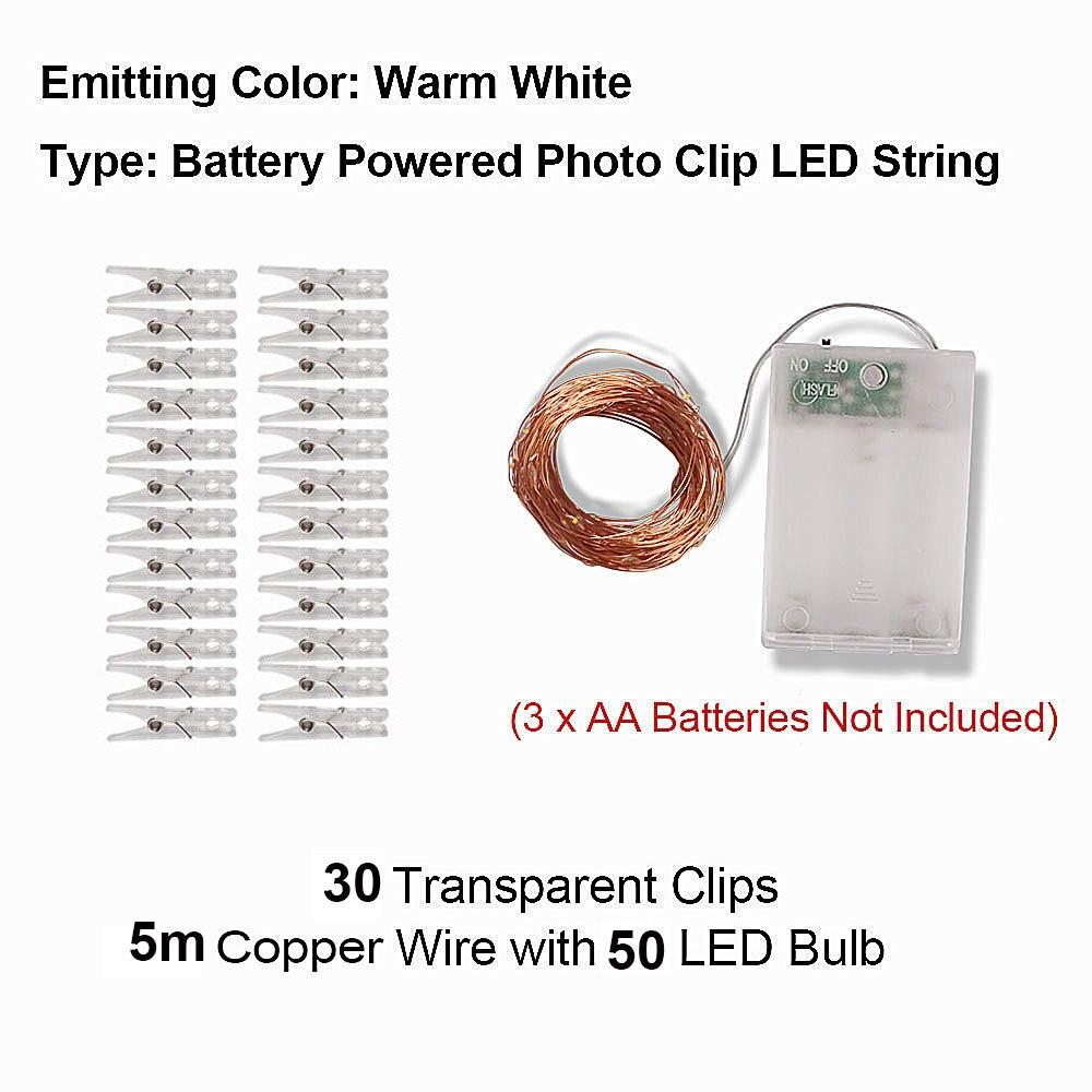 2 м/5 м/10 м зажим для фото USB светодиодный гирлянды сказочные огни наружная гирлянда на батарейках рождественские украшения вечерние, свадебные, рождественские - Испускаемый цвет: 5m Warm White