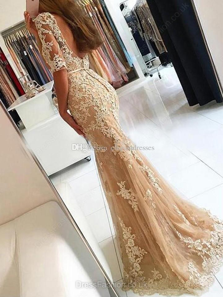 Vestido Robe De Soiree Half Sleeve Backless Mermaid 2018 Lace Appliques Custom Formal Evening Gown Mother Of The Bride Dresses