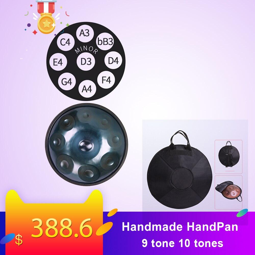 Performance à la main accrocher tambour HandPan fait à la main 56cm accrocher tambour 9 tons 10 tons accrocher instrument de musique cadeau tambour sac