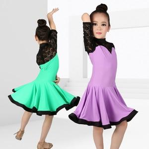 Image 5 - Girls Ballroom Dance Dresses Junior Latin Dress Knee Length Flamenco Dance Costumes