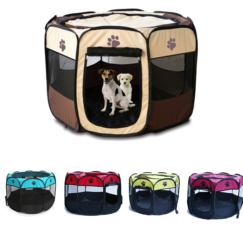 Pet <font><b>Dog</b></font> Playpen Tent Crate Room Foldable Puppy Exercise Cat Cage Waterproof Outdoor Two Door Mesh Shade <font><b>Cover</b></font> Nest <font><b>Kennel</b></font> image