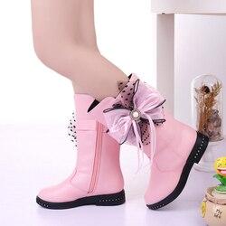 Zimowe nowe czarne buty dziecięce buty dziewczęce dzieci wysokie muszki buty dziewczęce Pincess buty do sukienki duże dzieci buty rozmiar 27-37