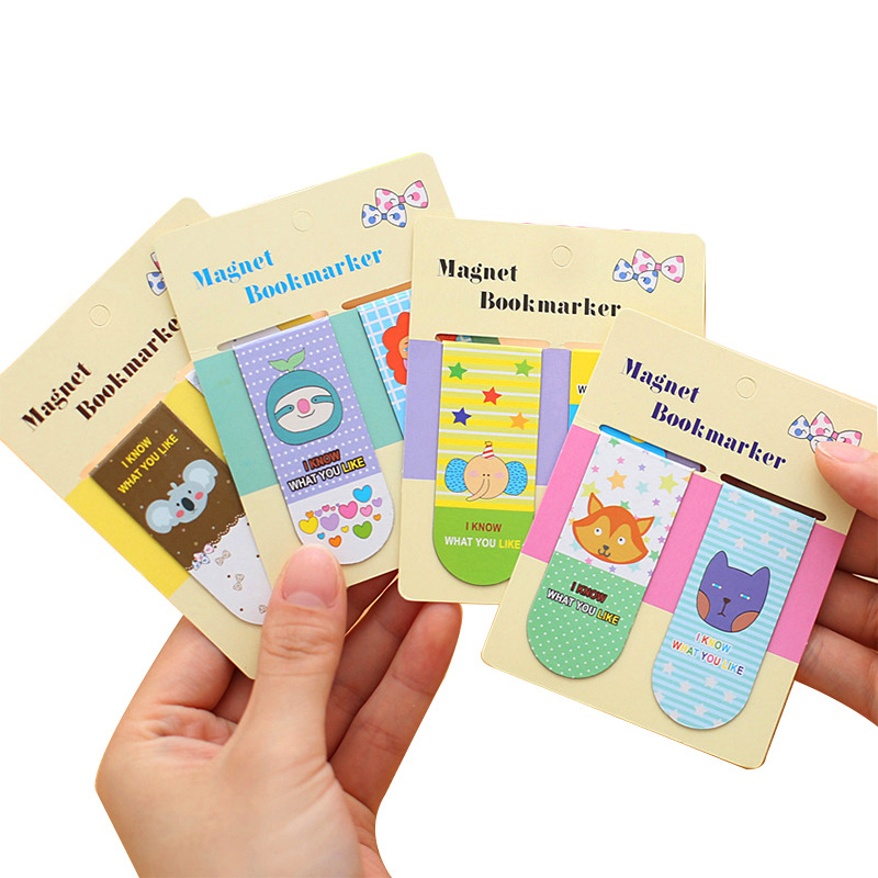 2 Pcs/Set Cute Cartoon Animal Magnetic Bookmark Clips Books Maker Of Page School Supplies Student Stationery Paper Clip