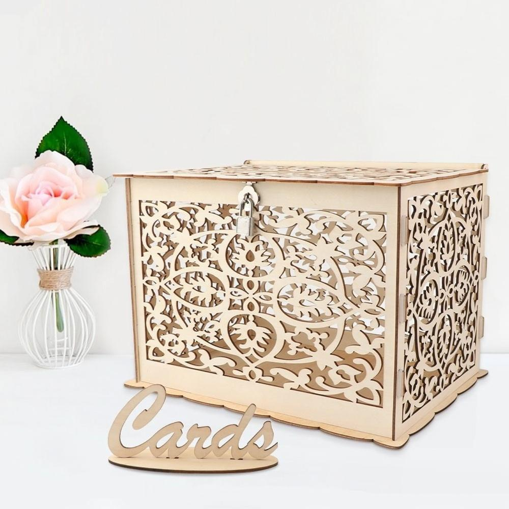 Wood Wedding Card Box Wedding Money Box Mr & Mrs Ring Box Rustic Gift Card Box Wedding Decor