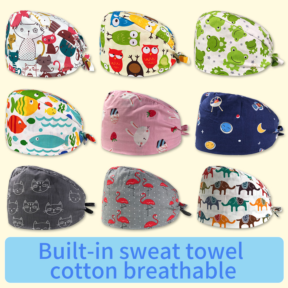 Unisex Pet Hospital Doctor Cap Operating Room Work Hat Printing Surgical Cap Women And Men Medical Scrubs Work Nurse Accessories