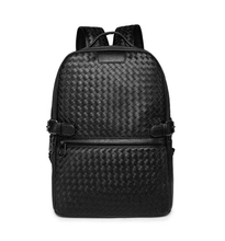 Stylish Cool Black Knitting Pu Leather Fashion Men Backpack Business Laptop Pack Deluxe Waterproof Work Bag Urban Commuter