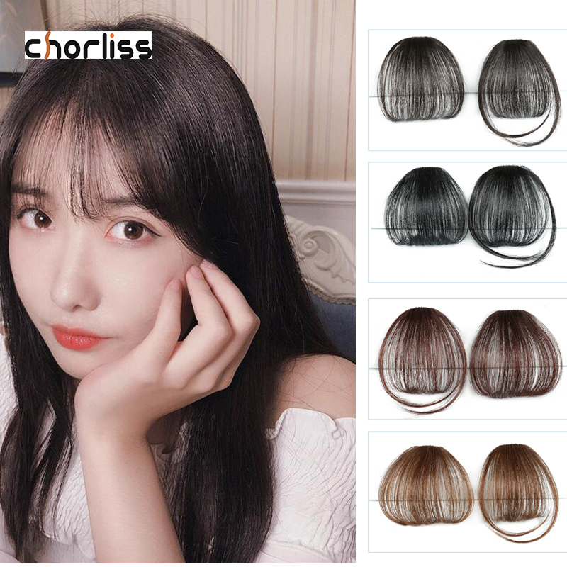 Chorliss Synthetic Bangs Clip In Hair  Air Bangs Hairpiece Synthetic Fake Bangs Hair Piece Clip In Hair Extensions Blone Brown