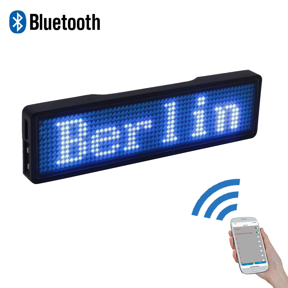Bluetooth LED Name Badge Programmable LED Display Rechargeable Adverting Light For Restaurant Waiter Party Event Exhibition Show