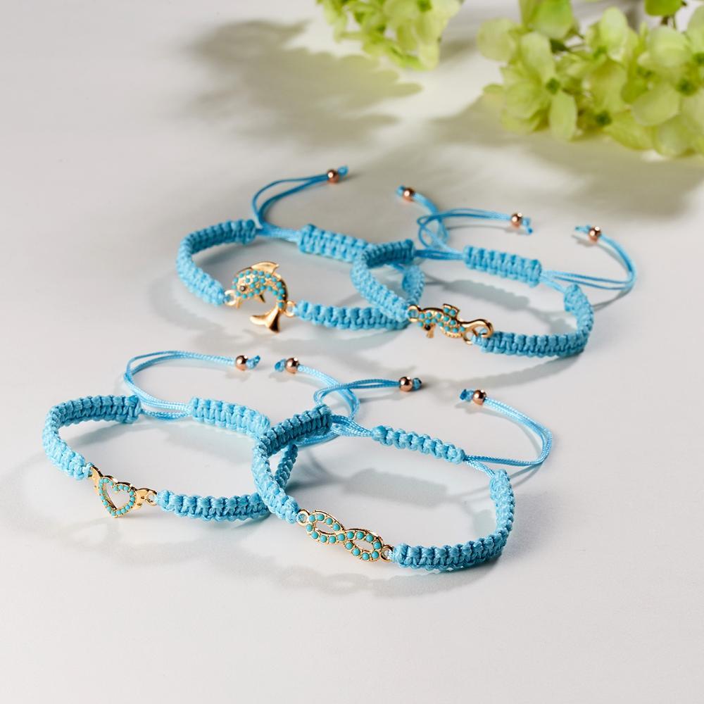Fancy Handmade Ocean Animal Bracelet Cute Turtle/Dolphin Rope Braclet For Men Women Armband Adjustable Jewelry
