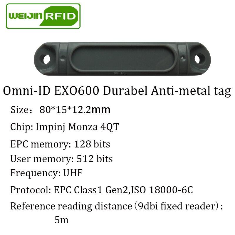 Купить с кэшбэком UHF RFID metal tag omni-ID EXO600 915m 868mhz Impinj Monza4QT 10pcs free shipping durable ABS smart card passive RFID tags