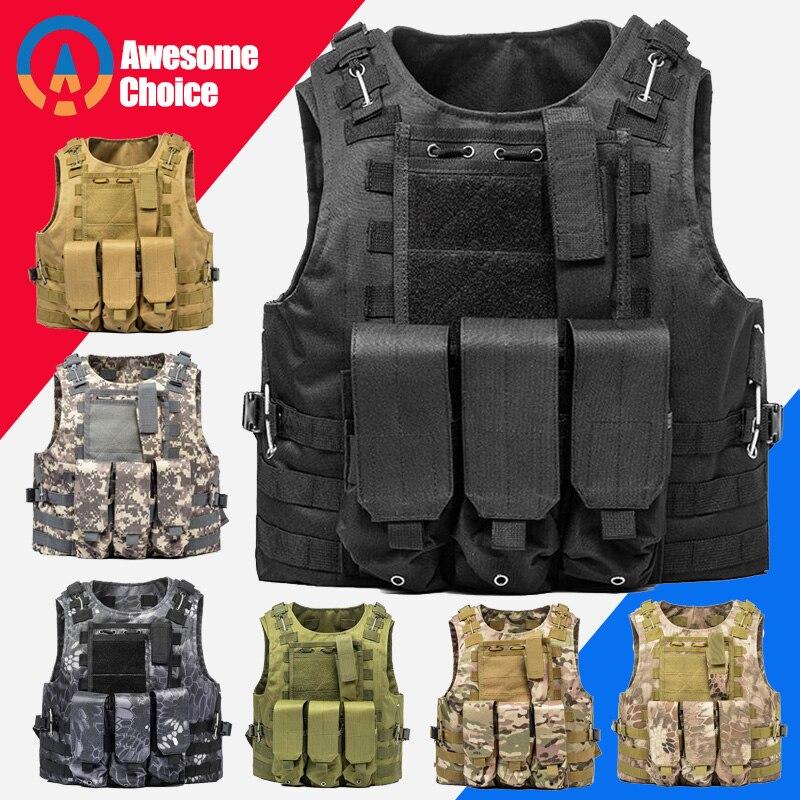 USMC Taktis Rompi untuk Airsoft Militer Molle Combat Assault Piring Carrier Taktis Vest CS Outdoor Pakaian Berburu Rompi title=