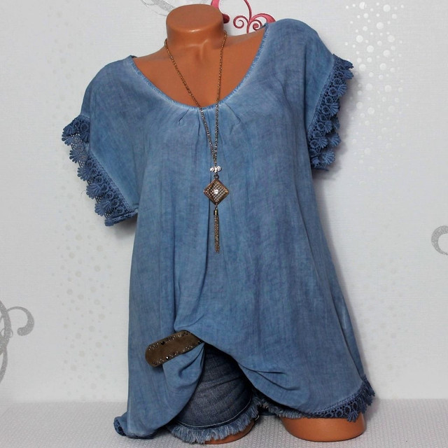 2021 Summer Short Sleeve Womens Blouses And Tops Loose Lace Patchwork Shirt Plus Size 4xl 5xl Women Tops Casual Clothes 2