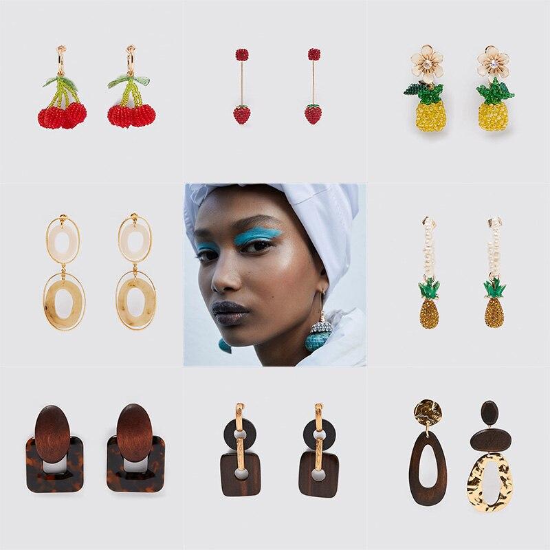 ZA New Boho Red Crystal Cherry Pineapple Long Drop Earrings For Women Trendy Blue Shell Wooden Chain Earring Bohemian Jewelry