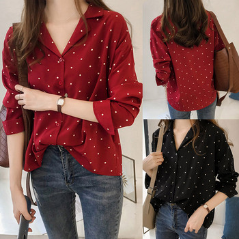 Women Button Shirts Casual Long Sleeve Polka Dot Turn-Down Collar Casual Tops Woman Blouses And Tops Plus Size Clothes 2019 new plus size women tops blouses long sleeve button turn down collar contrast color spring autumn casual ladies shirts blusas