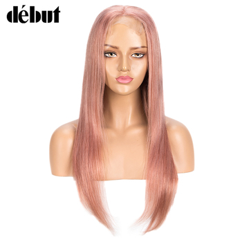 Debut Silver Pink 4x4 Lace Closure Wig Pre Plucked With Baby Hair Brazilian Remy Straight Lace Front Human Hair Wigs For Women