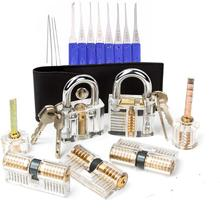 17Pcs Locksmith Tools with 7pcs Transparent Lock Combination,12pcs Blue Broken Key Remove Pick Tool,Lock Practice Pick Set