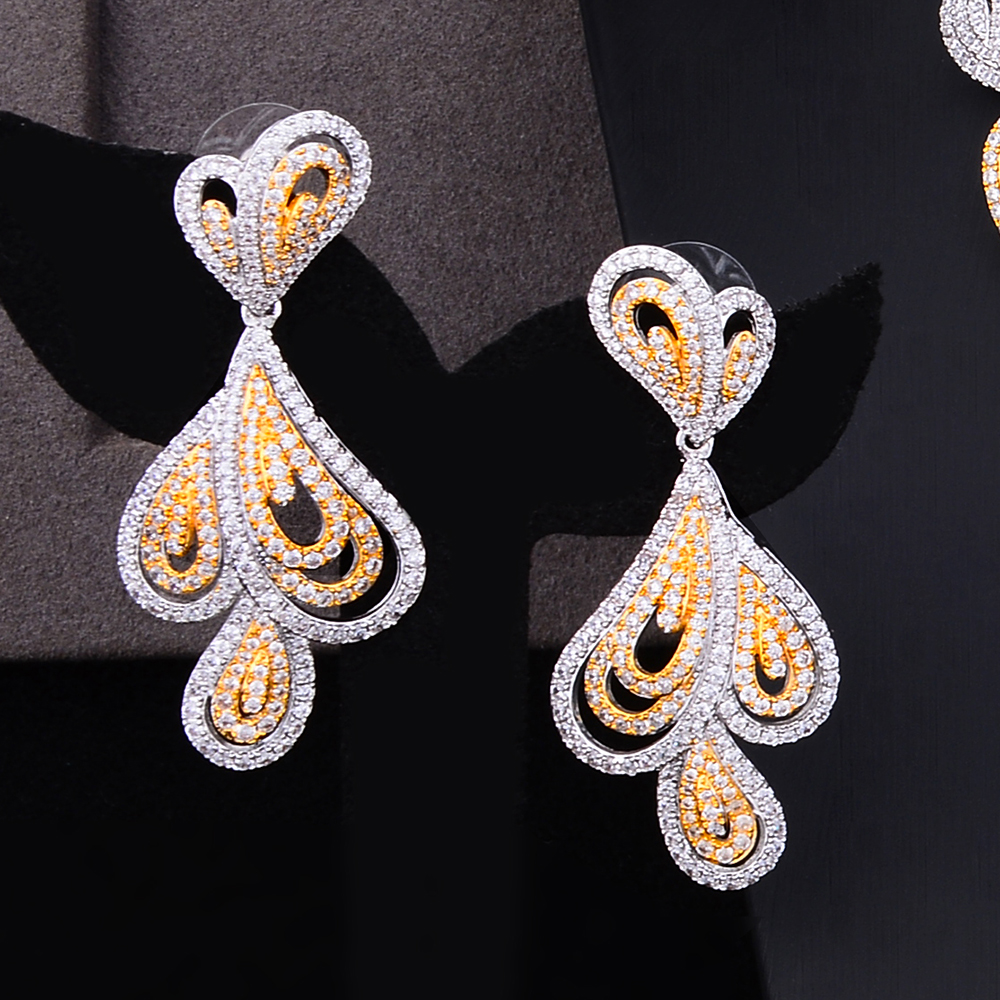 Luxury Women Vintage Teardrop Pendant Long Weave Rhinestone Dangle Earring Gifts