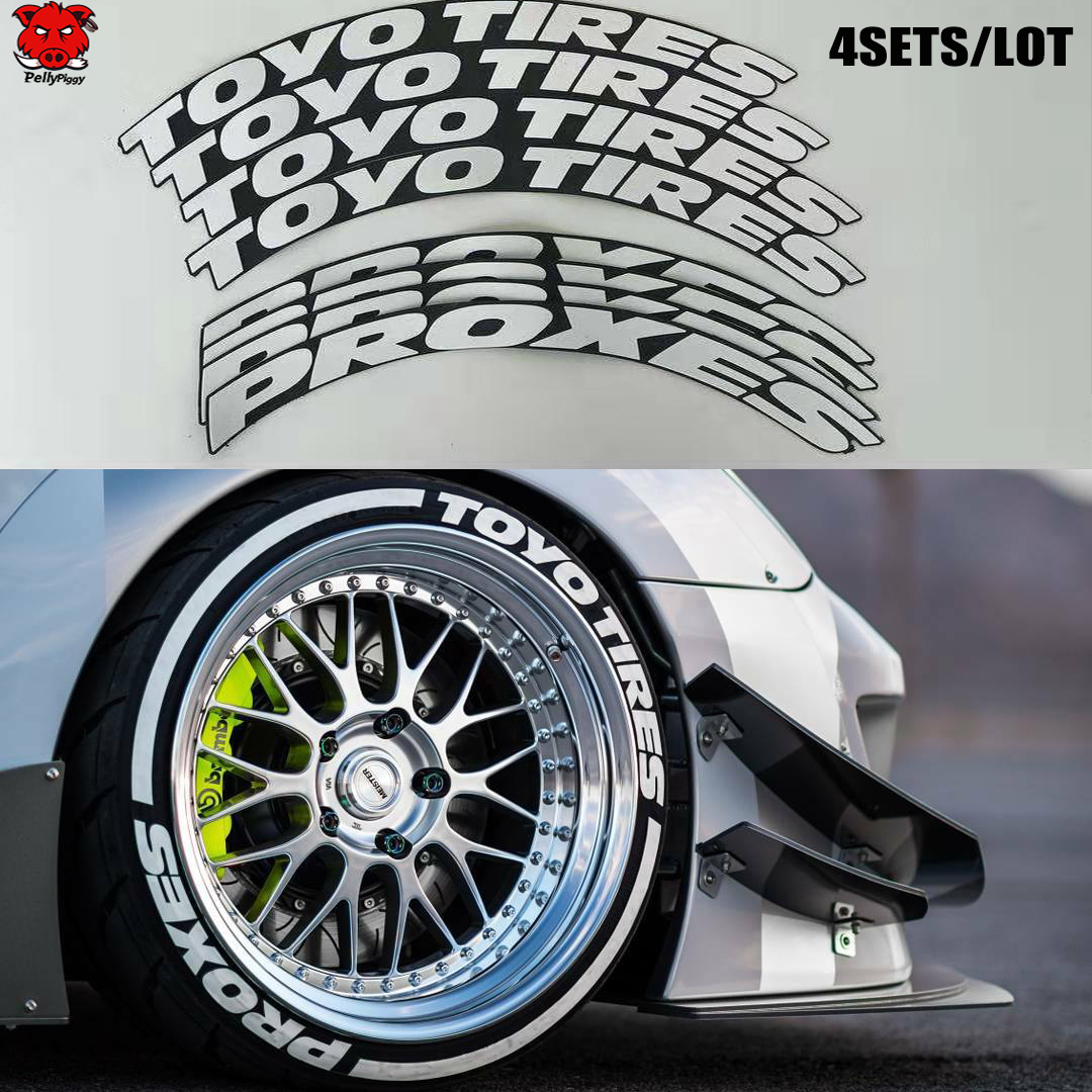 4sets/lot New Tire Sticker-Car Tire Sticker Car Tuning Universal 3D Permanent Rubber Tire Stickers Letters Together High Quality