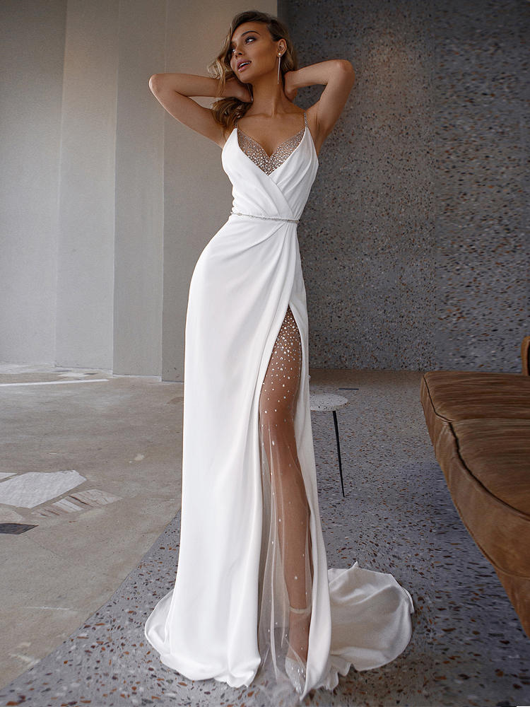 Spaghetti-Straps Beading Wedding-Dresses Bridal-Gowns Satin White Mermaid LORIE Princess