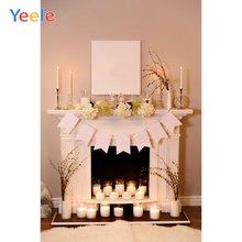 Рождественский камин при свечах ковер цветок домашний декоративный