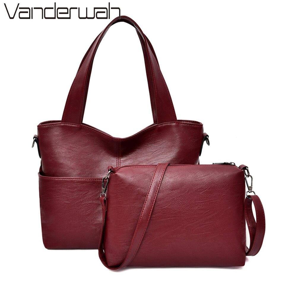 2 Sets Purse And Handbags Women Pu Leather Handbags SacFemale Large Capacity Ladies Hand Shoulder Tote Bags For Women 2020 Bolsa