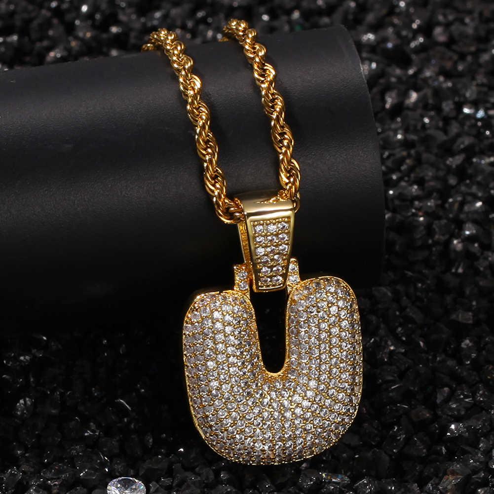 Uwin A-Z naszyjniki niestandardowe Bubble początkowe litery wisiorek dla mężczyzn dla kobiet złoto srebro kolor cyrkonia Hiphop biżuteria hurtownie