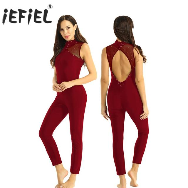 iEFiEL Womens Femme Shiny Rhinestones Dance Wear Keyhole Back Gymnastics Leotard Figure Skating Jumpsuit Costumes Clubwear