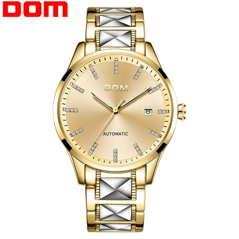 2020 new DOM automatic men's watch top brand luxury automatic date gold stainless steel watch men's business sports men's Watch