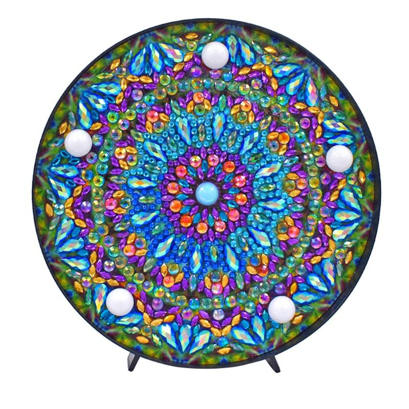 5D Diy Mandala Full Drill Diamond Painting Light Lamp Rhinestone Embroidery Special Shape Drill Led Diamond Painting Lamp
