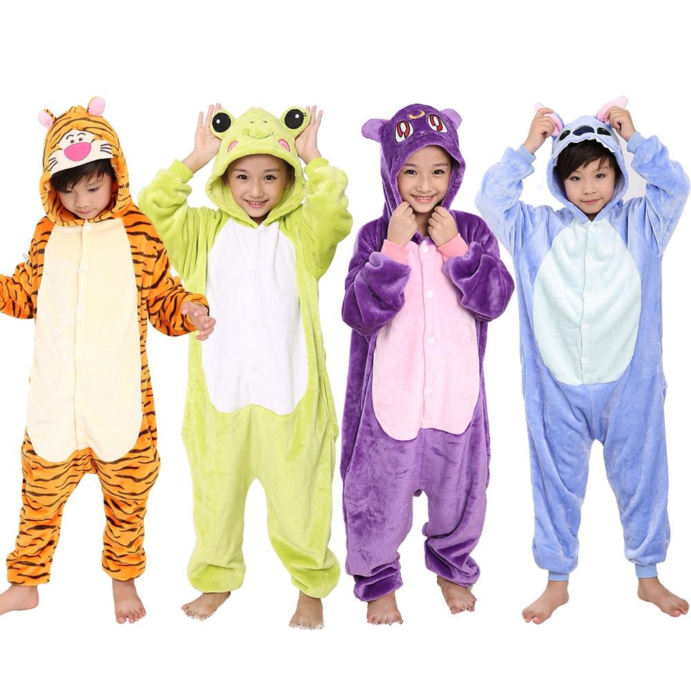 KIGUCOS Kid Stitch Cartoon Ainmal Pajamas Lovely Winter Warm Children Onesies Unicorn Flannel Pyjama One Piece Homewear Pajamas