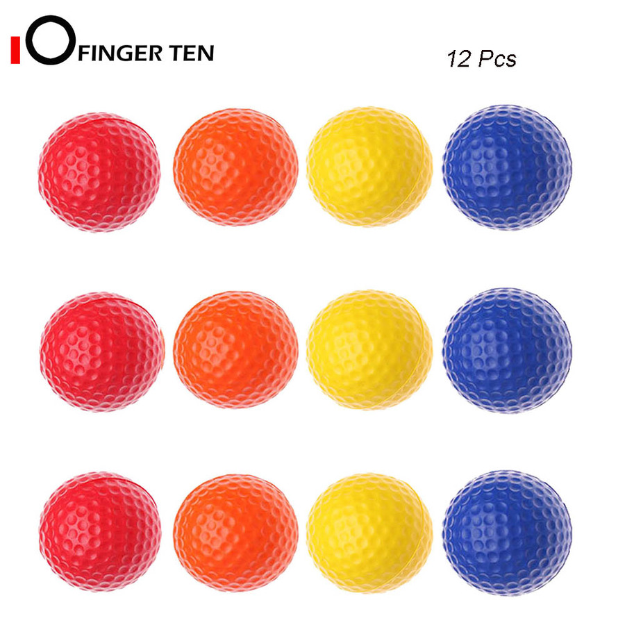 Soft Elastic Practice Golf Balls Foam 12 Pcs Restricted Flight Indoors And Outdoors Training Aid Ball For Men Women Kids