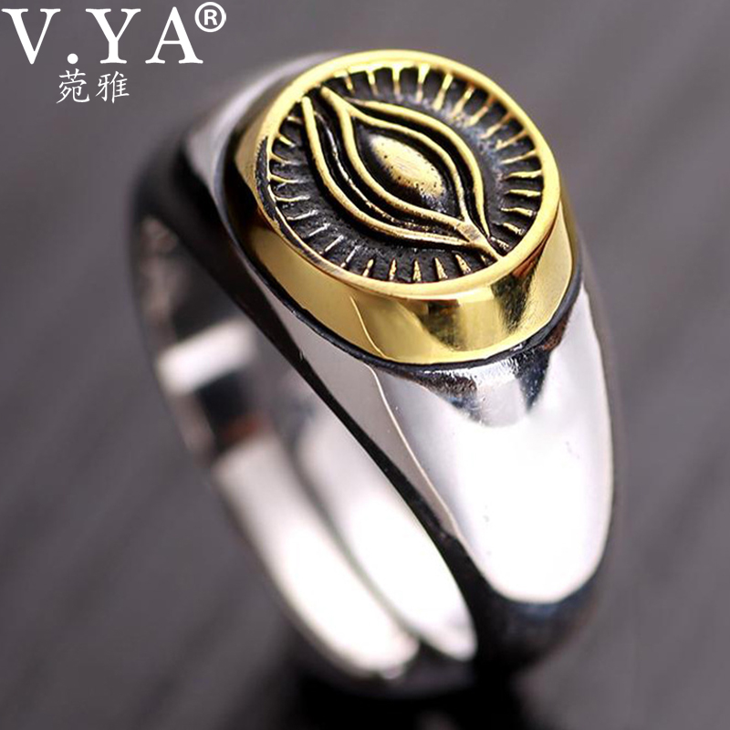 V.YA 100% 925 Sterling Silver Ring Open Size Retro Thai Silver Ring Eye Of Providence Rings For Men Women Ringent Finger Ring