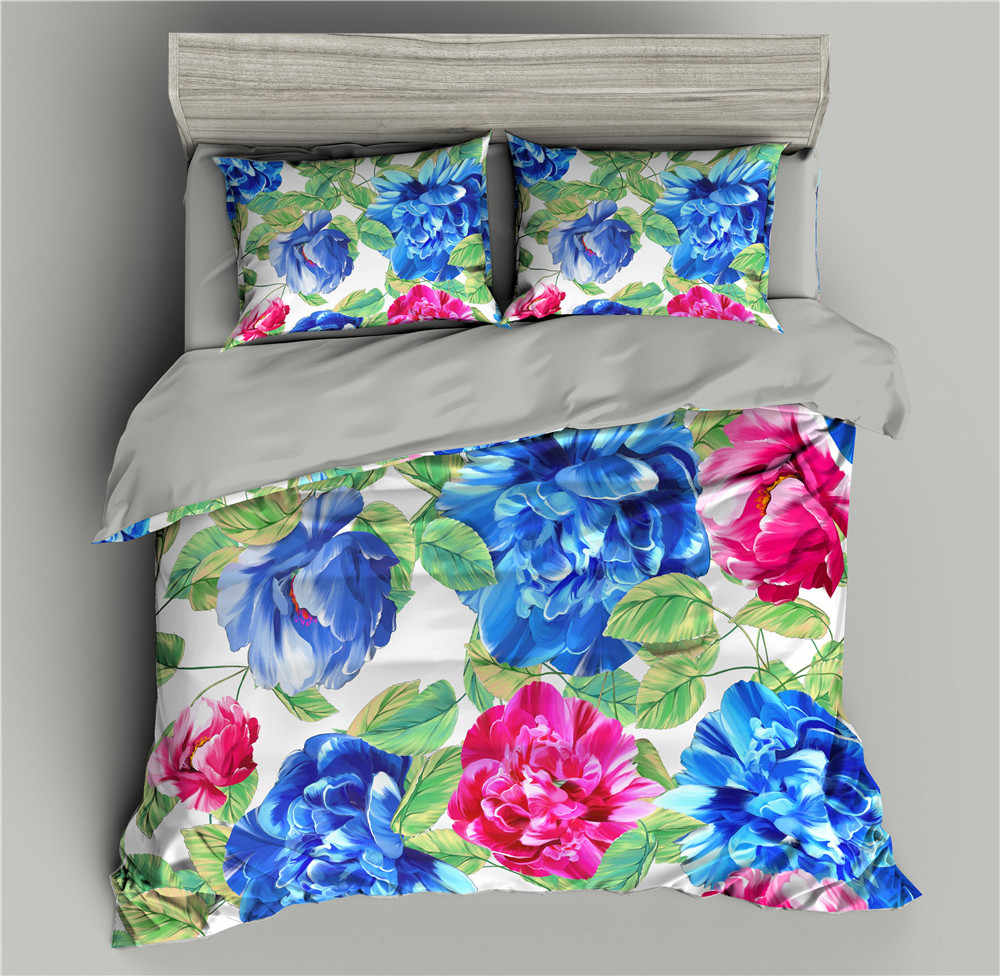 Colorful Flowers 3D Bedding Set Blue Duvet Cover Bedding Comforter Sets Bed Quilt Covers Sets Single/Full/Twin/Queen/King size