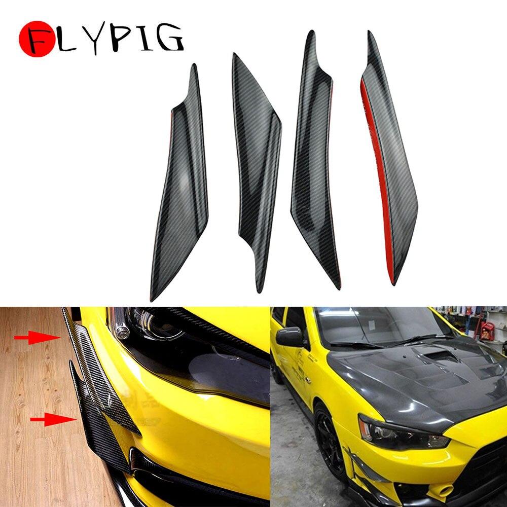 Car Glossy Carbon Fiber Bumper Fin Canard Diffuser Splitter Valence Spoiler Lip