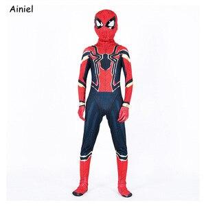 Image 3 - Ainiel, Железный Паук, карнавальный костюм, супергерой, костюм Zentai, комбинезон, спандекс, костюм, маска, вечерние костюмы на Хэллоуин для мальчиков