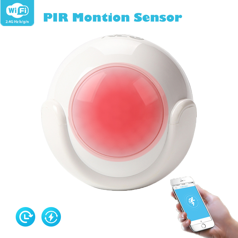 WiFi Smart PIR Motion Sensor , Smart Home Security Infrared Alert Dectector Compatible With IFTTT For Voice Control, No Need Hub