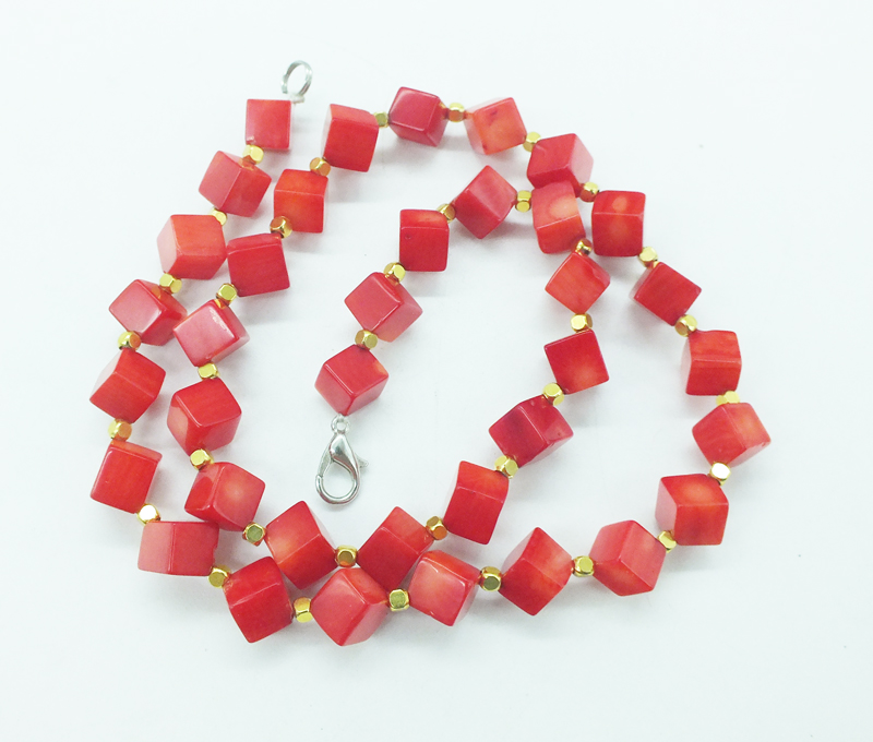 """New 10mm White Carving Coral Bead Gems Knotted Necklace 18/"""" Magnetic Clasp"""
