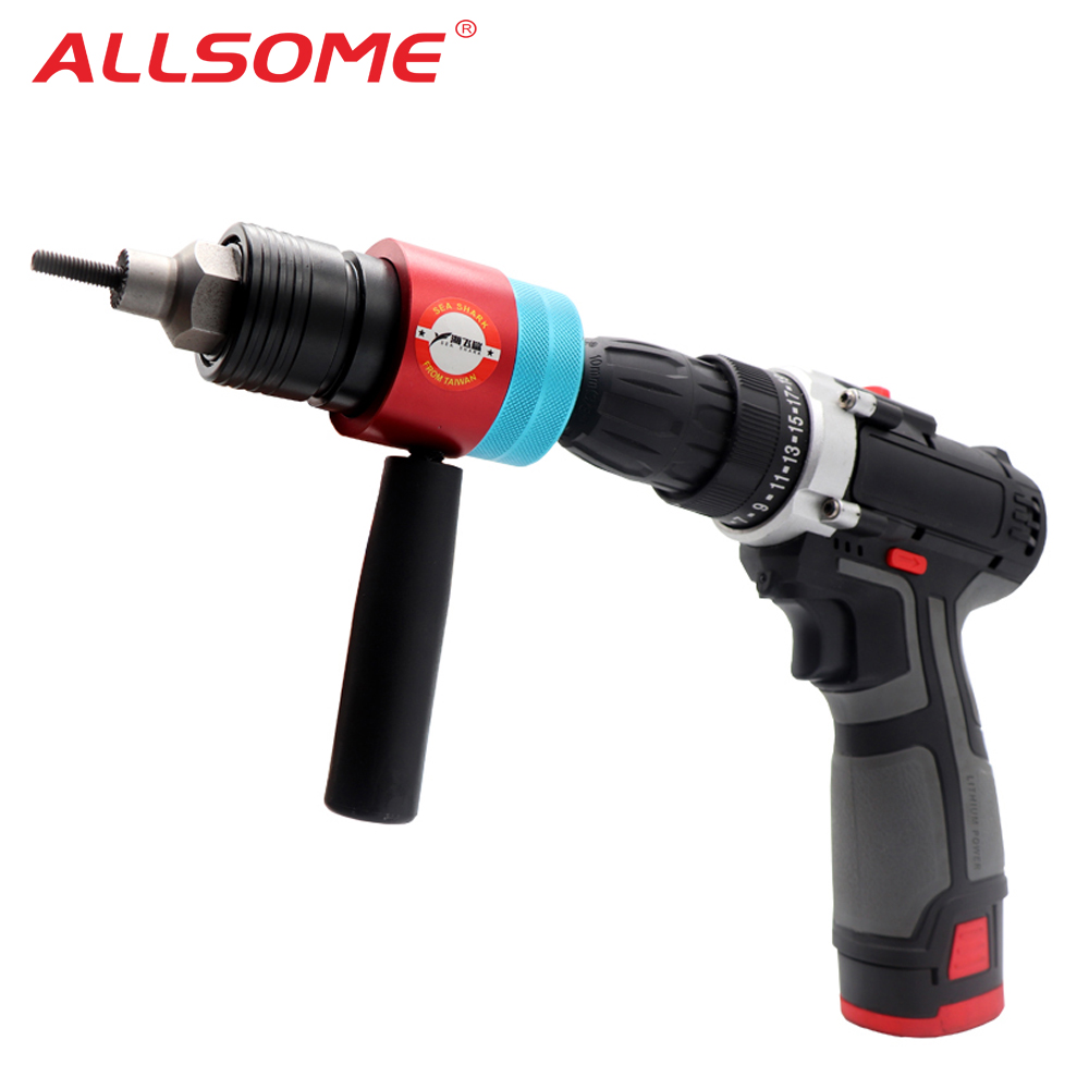 ALLSOME Electric Rivet Nut Gun Adapter Automatic Insert Threaded Rivnut Nut Tool Riveting M3 M4 M5 M6 M8 Nuts