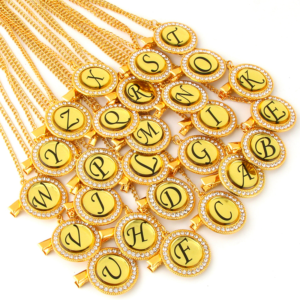 Bling Baby Pacifier Clip Golden Any Initials Letter Pacifiers Chain Holder Baby Dummy Clips Safe Metal Chains