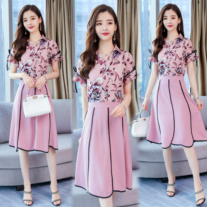 2019 Summer WOMEN'S Dress New Style Slim Fit Medium-length Dress Elegant Pink Debutante Printed Two-Piece Set Chiffon Dress