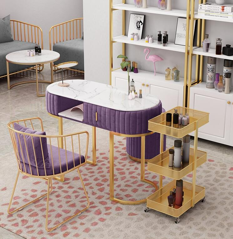 Marble double deck manicure table and chair suit Nordic single double manicure table net red economic manicure and manicure tabl